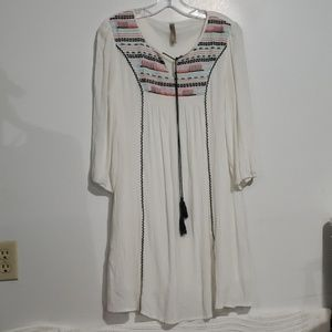 Entro Cream Embellished Bohemian Style Dress Sz S